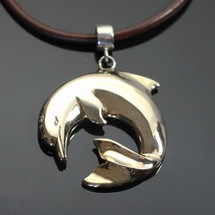 Curved Dolphin Bronze Pendant Necklace