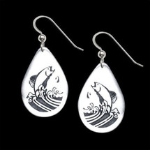Salmon Jumping Earrings by Jan Miller    Metal Arts Group Jewelry   MAG22204