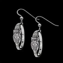 Owl Sterling Silver Hoop Earrings    Metal Arts Group Jewelry   MAG22826