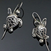 Baby Loggerhead Turtle Sterling Silver Wire Earrings