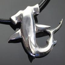 Hammerhead Shark Silver Pendant Necklace   Anisa Stewart Jewelry   ASJF1008