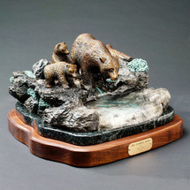 """Bear Bronze Sculpture """"The Fishing Hole"""" 
