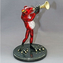 "Frog Bronze Sculpture ""Just Tootin' My Horn"" 