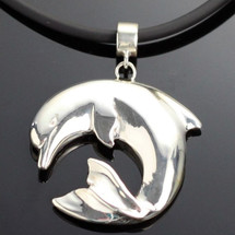 Curved Dolphin Silver Pendant Necklace | Anisa Stewart Jewelry