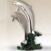Dolphin Pair Silver Plated Sculpture | 2527 | D'Argenta