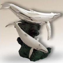 Whales Silver Plated Sculpture | 2530 | D'Argenta