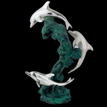 Dolphin Trio Silver Plated Sculpture   5028   D'Argenta