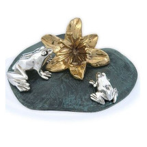 Silver and Gold Frogs on Lily Pad Sculpture A20