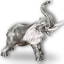 Silver Elephant Sculpture with Trunk Up  A54