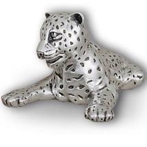 Silver Leopard Reclining Sculpture | A63 | D'Argenta