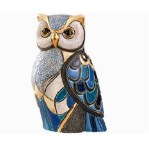 Blue Owl Ceramic Figurine