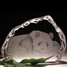 Panda Crystal Ice Block Sculpture | Evergreen Crystal | ECIpandaice