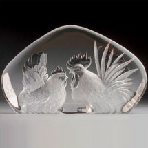 Rooster & Hen Crystal Sculpture   33860   Mats Jonasson Maleras
