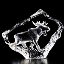 Moose Bull Mini Crystal Sculpture | 88130 | Mats Jonasson Maleras