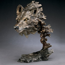 Wolf Bronze Sculpture Wild Wind