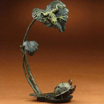 "Bronze Frog and Turtle Sculpture ""Creature Comforts"" 