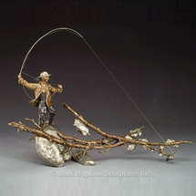 "Female Fishing Bronze Sculpture ""Setting the Hook"" 
