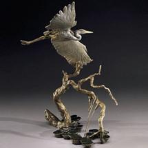 Great Blue Heron Bronze Sculpture | Mark Hopkins | mhs41013