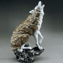 Wolf Sculpture Midnight Serenade