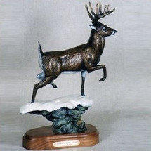 "Whitetail Deer Bronze Sculpture ""Chasin' the Wind"" 