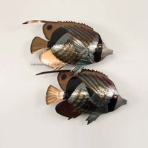 Striped Butterfly Fish Pair Metal Wall Sculpture | TI Design | TICO128
