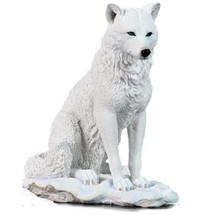 White Wolf Sculpture Sitting in Snow | Unicorn Studios | USIWU75719AA