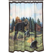 Black Bear Lodge Shower Curtain and Hooks Set | AVA13017G-H