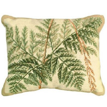Fern Leaves Needlepoint Down Pillow | Michaelian Home