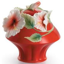 Island Beauty Hibiscus Sugar Jar | fz00981 | Franz Porcelain Collection -2