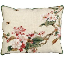 Cherry Blossoms Needlepoint Down Pillow | Michaelian Home