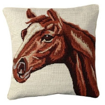 Red Horse Needlepoint Down Pillow | Michaelian Home
