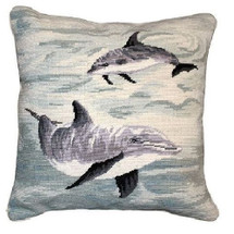 Dolphin Needlepoint Down Pillow | Michaelian Home