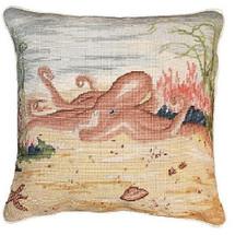 Octopus Needlepoint Down Pillow | Michaelian Home | MICNCU819