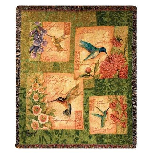 Hummingbird Tapestry Throw Blanket | Manual Woodworkers | MWWATWBLM