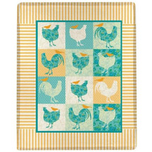 Rooster and Chicken Throw Blanket | Manual Woodworkers | MWWSACLCT