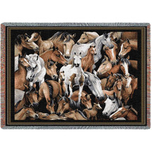 Stampede Horse Tapestry Afghan Throw Blanket   Pure Country   PC1218T