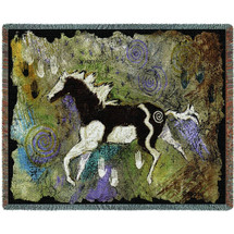 Magical Pinto Horse Tapestry Afghan Throw Blanket | Pure Country | pc1908T