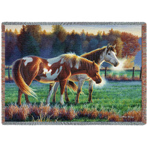 Pasture Buddies Horse Tapestry Afghan Throw Blanket | Pure Country | pc4715T