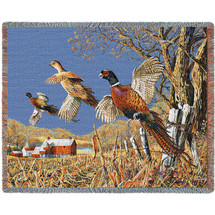 High Field Flush Pheasant Tapestry Afghan Throw Blanket | Pure Country | pc4721T
