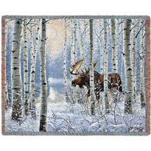 On The Move Moose Tapestry Afghan Throw Blanket | Pure Country | 4726T