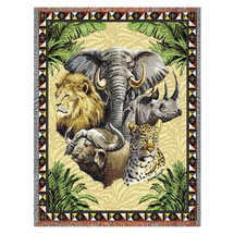 Big Five Wildlife Tapestry Afghan Throw Blanket | Pure Country