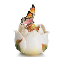 Floral Blossom Magnolia Lidded Jewelry Box | Franz Porcelain Jewelry