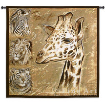 Giraffe Tiger Lion Zebra Safari Tapestry Wall Hanging | Pure Country