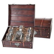 Bighorn Sheep Decanter Chest Set | Heritage Pewter | HPICPTC115