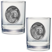 Grizzly Bear Double Old Fashioned Glass Set of 2   Heritage Pewter   HPIDOF201