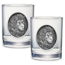 Lion Double Old Fashioned Glass Set of 2 | Heritage Pewter | HPIDOF213