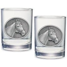 Racehorse Double Old Fashioned Glass Set of 2   Heritage Pewter   HPIDOF229