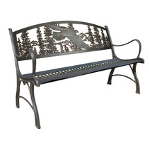 Eagle Cast Iron Garden Bench | Painted Sky | PSPB-EAG-100BR