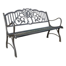 Angel Cast Iron Garden Bench | Painted Sky