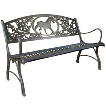 Horse Cast Iron Garden Bench | Painted Sky | PSPB-IHS-100BR